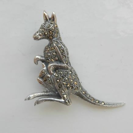 Fine Silver & Marcasite Kangeroo Brooch