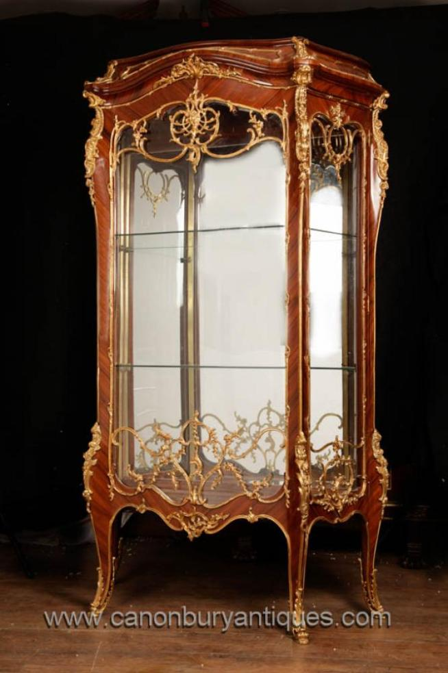 French Empire Tall Glass Display Cabinet Bijouterie