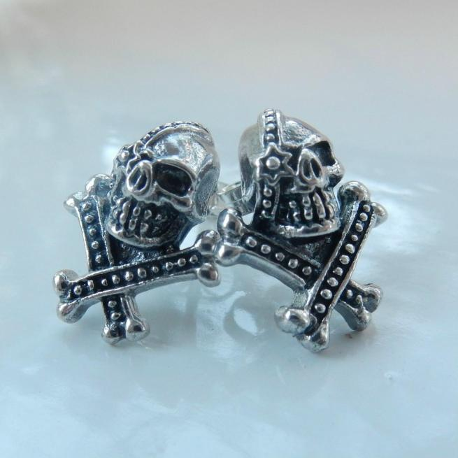 Gothic Fine Silver Skull & Crossbone Stud Earrings