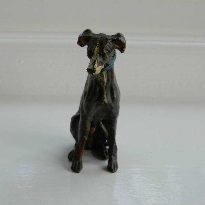 Hand Painted Bronze Greyhound