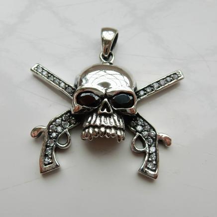 Large Silver & Garnet Skull Pendant