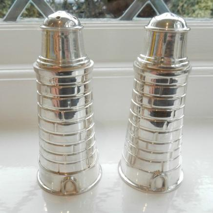 Novelty Silver-Plate Lighthouse Salt & Pepper Shakers