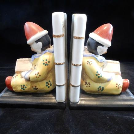 Pair Porcelain Clown Book Ends