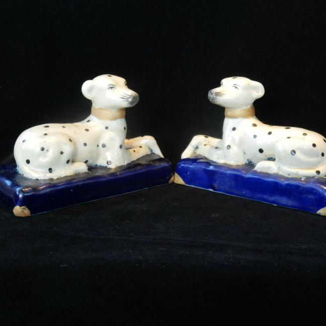 Pair Porcelain Spotted Dalmatian Dogs