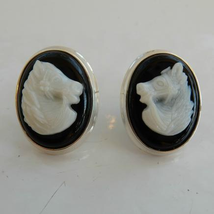Pair Silver Carved Horse Cameo Earrings