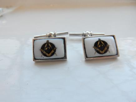 Pair Silver & Enamel Freemasons Cufflinks