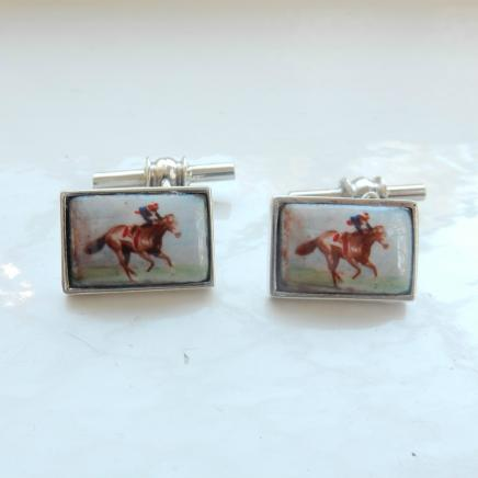 Pair Silver & Enamel Horse Racing Cufflinks