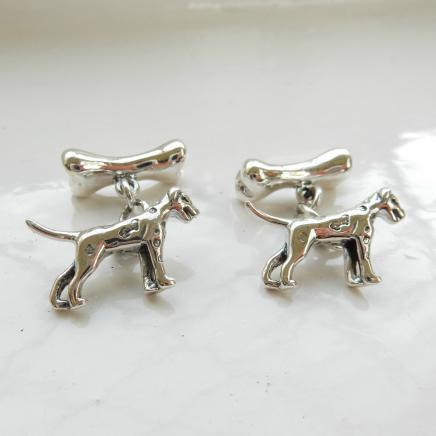 Pair Solid Silver Dog & Bone Cufflinks