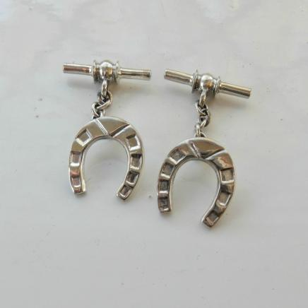 Pair Sterling Silver Horse Shoe Cufflinks