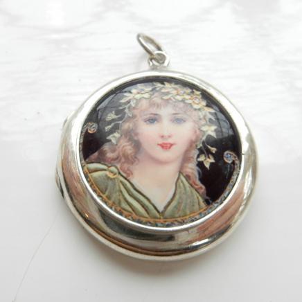 Silver Art Nouveau Lady Pendant
