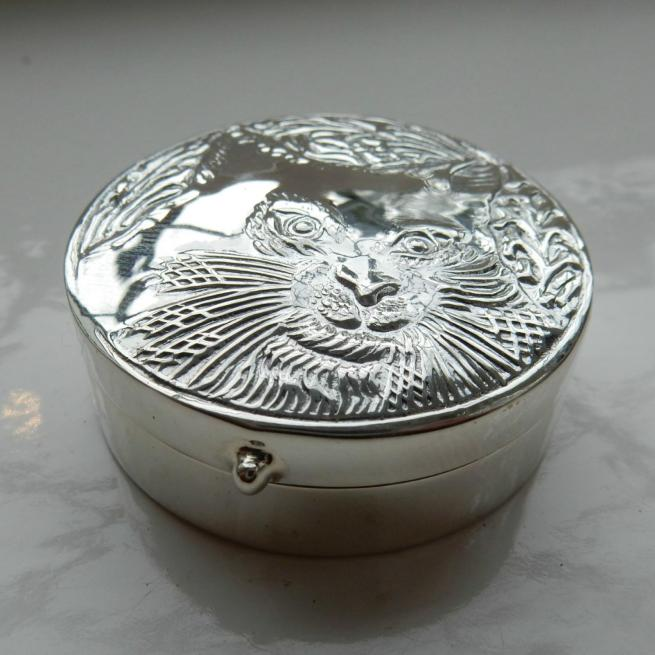 Silver Cat Trinket Box