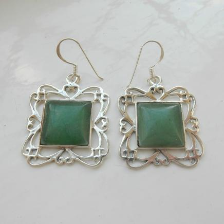 Silver & Jade Drop Earrings