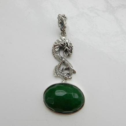 Silver & Jade Oriental Dragon Pendant