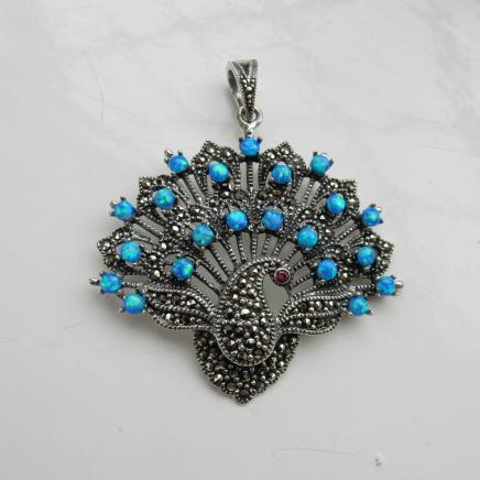 Silver Marcasite Peacock Fan Pendant