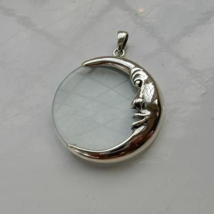 Silver Moon Crescent Magnifying Pendant