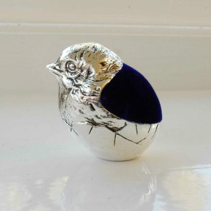 Silver Plate Baby Chick Pin Cushion