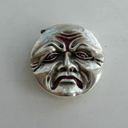 Silver-Plate & Enamel Happy Sad Face Vesta
