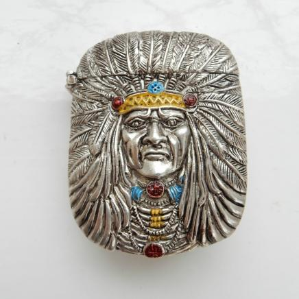 Silver-Plate & Hand Painted Enamel Red Indian Vesta