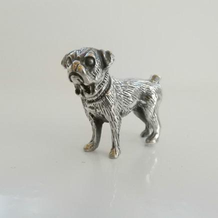 Silver Pug Dog Charm