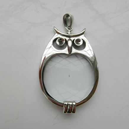 Solid Silver Barn Owl Magnifying Pendant