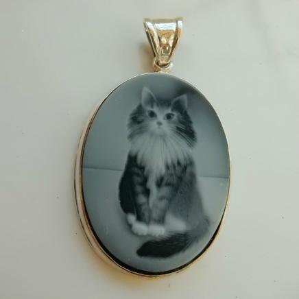 Solid Silver Carved Tabby Cat Pendant