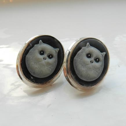 Solid Silver Cat Cameo Earrings