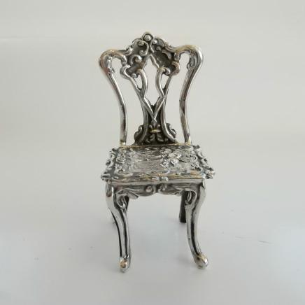 Solid Silver Dolls House Chair