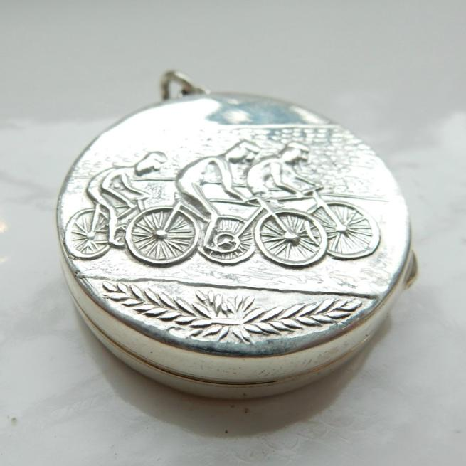 Solid Silver Olympic Cyclist Locket