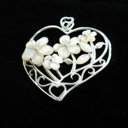 Solid Silver & Pearl Heart Pendant