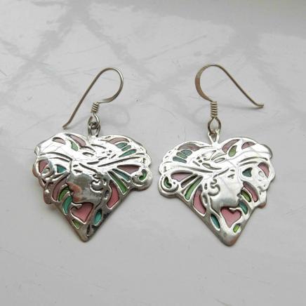 Solid Silver Plique Du Jour Lady Earrings