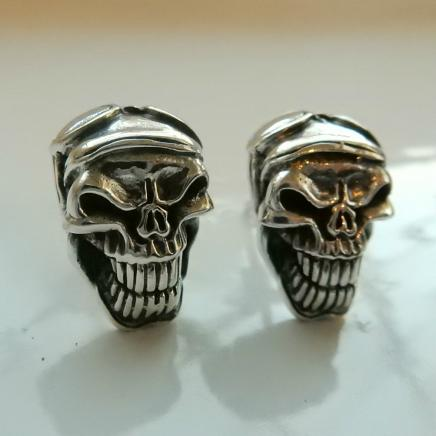 Solid Silver Skull Stud Earrings