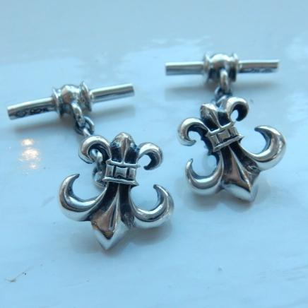 Sterling Silver Fleur De Lis Men's Cufflinks