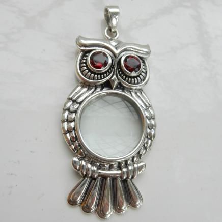 Sterling Silver & Garnet Owl Magnifying Glass Pendant
