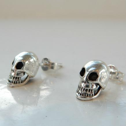 Sterling Silver Gothic Skull Stud Earrings