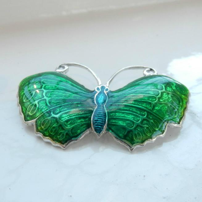 Sterling Silver & Green Enamel Butterfly Brooch