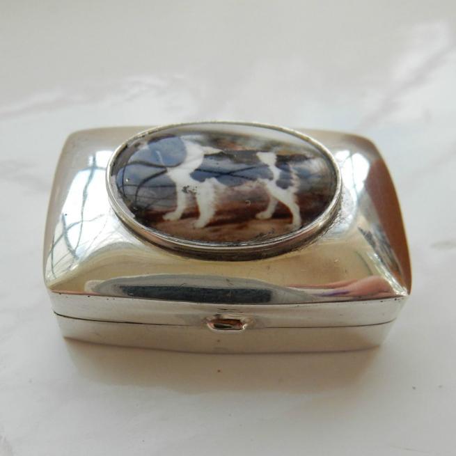 Sterling Silver Gun Dog Pill Box