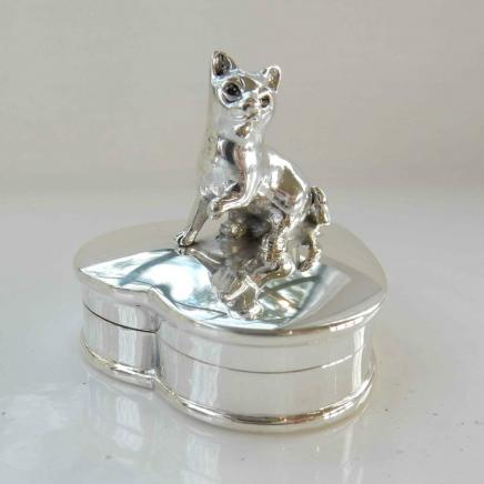 Sterling Silver Heart Shaped Cat Trinket