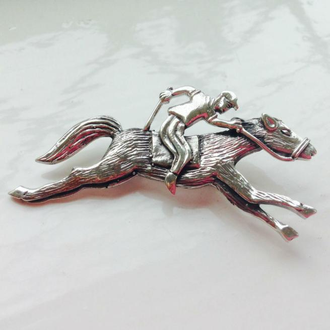 Sterling Silver Horse & Jockey Brooch