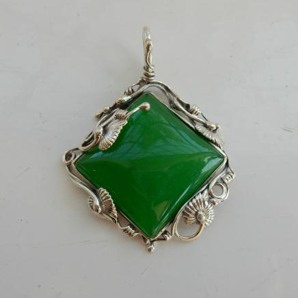 Sterling Silver & Jade Pendant
