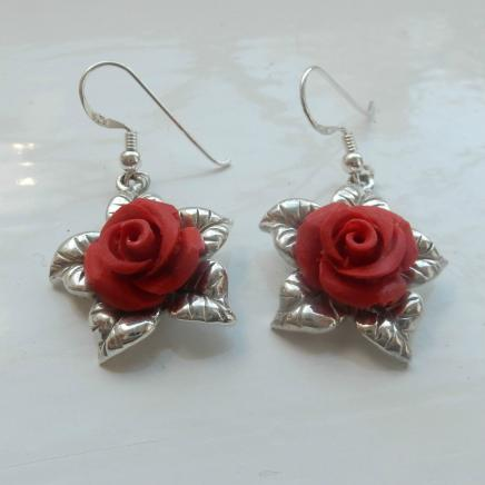 Sterling Silver Rose Droplet Earrings