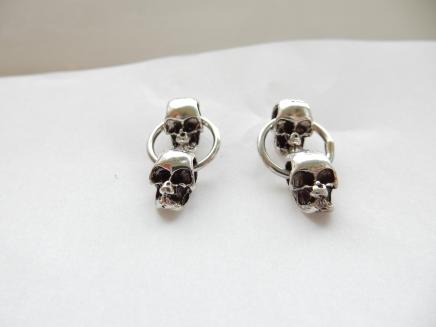 Sterling Silver Skull Drop Earrings