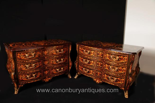 Pair Dutch Marquetry Bombe Chests Drawers Commodes