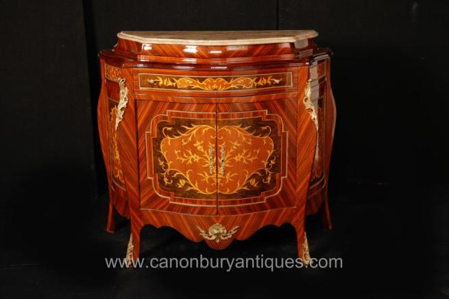 French Empire Bombe Cabinet Chest Commode Marquetry Inlay
