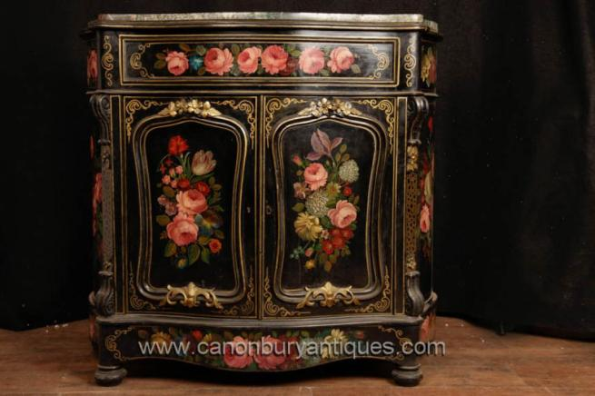 Antique French Lacquer Cabinet Commode Sideboard Circa 1880
