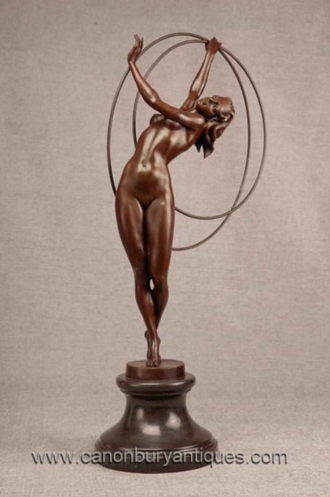 Art Deco Bronze Hoop Dancer Statue Figurine 1920s Flapper