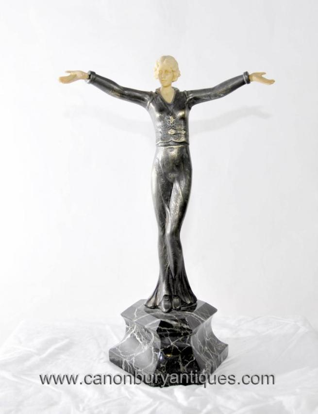 Art Deco Metal Female Figurine Statue by Lorenzl 1920s Flapper