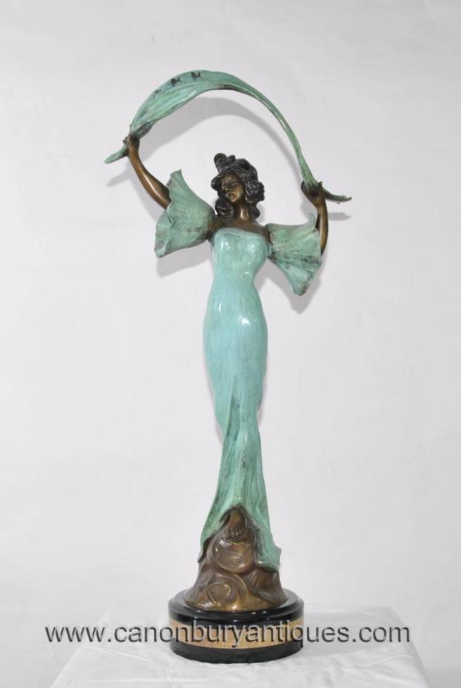 Art Nouveau Bronze Stella Female Figurine Statue Drapery Signed