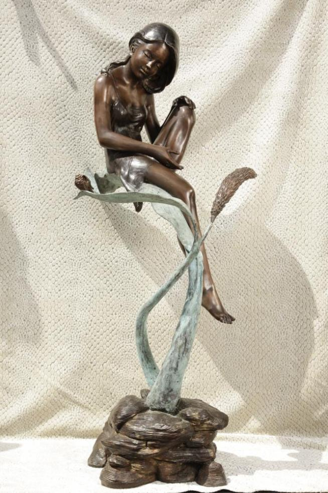 Big Bronze Pixie Girl Fairy Statue Lilly Figurine