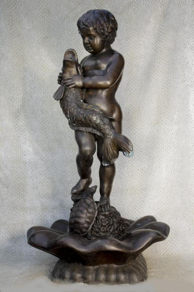 Big Italian Bronze Cherub Serpent Fountain Garden Water Feature