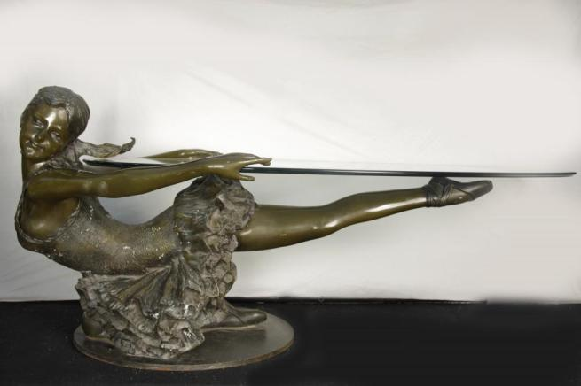 Bronze Ballet Girl Coffee Table Glass Top Statue Ballerina